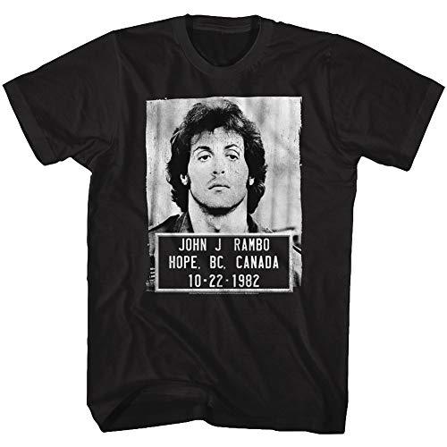 Rambo Film Series John J. Rambo Canada 1982 Mugshot Black Adult T-Shirt Tee (Apparel Black John Tee Adult)