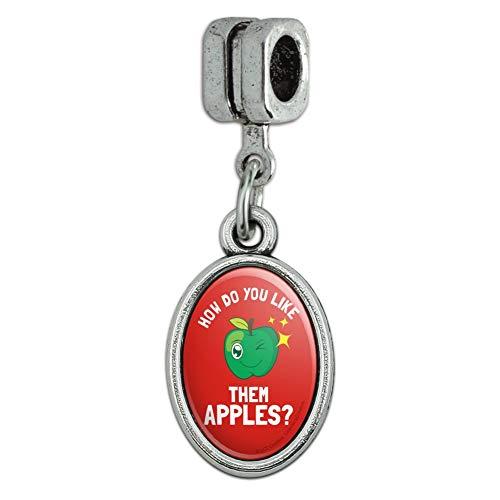 GRAPHICS & MORE How Do You Like Them Apples Funny Humor Italian European Style Bracelet Oval Charm Bead