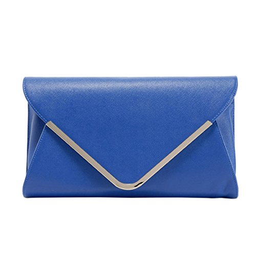 Versatile Women's Envelop ABage Purse Handbags Leather Blue Clutch Evening PU Clutch Royal OXRRqC
