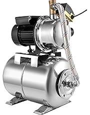 VEVOR Shallow Well Jet Pump with Tank 1200 W Jet Pomp met Tank 230 V / 50 Hz Stainless Steel Jet Pump with Tank, Debiet Max 4350 L/h, Stalen Tank 22 L, Hoofd Maximaliseren 50 m, Kabellengte 1,5 m