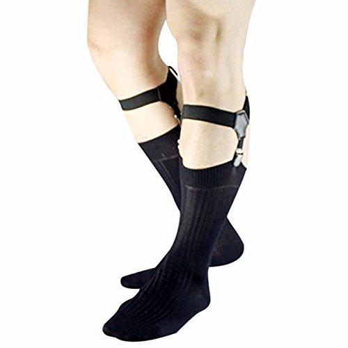 FEESHOW Adjustable Men's Sock Garter Belt Grips Suspender with Metal Clips Black one size