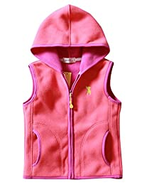 Girls Hooded Vest Soft Polar Fleece Winter Hooded Zipper Up Waistcoat 2-8T