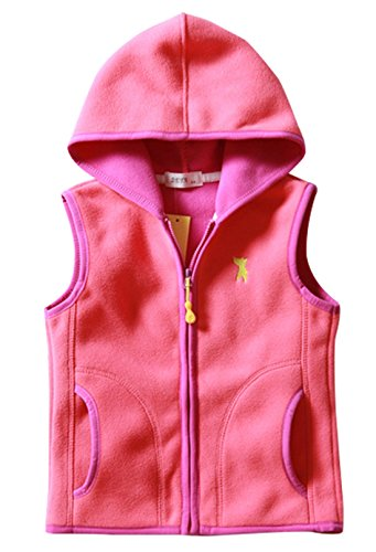 Little Girls Hooded Vest Super Warm Polar Fleece Winter Outdoor Sleeveless Outwear 3-4T Rose