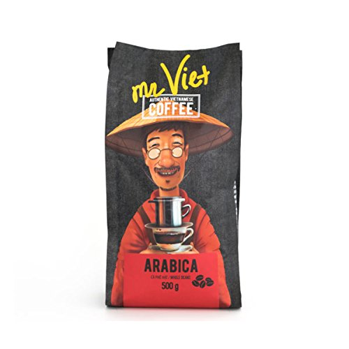 Mr Viet Arabica Coffee Beans 100%   Fresh and Promptly Delivered from Vietnam - Roasted Authentic Vietnamese, Suitable for All Coffee Machines 500g