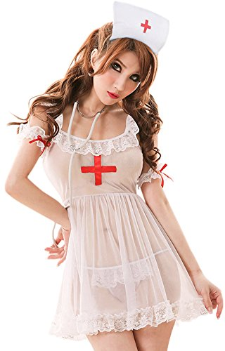 Queen.M Lace Naughty Nurse Uniform Role Play Sexy Lingerie Set,White,One Size