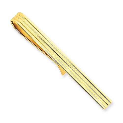 14k Yellow Gold Striped Tie Bar by CoutureJewelers