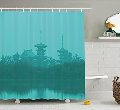 Ambesonne Asian Shower Curtain, Various Temples above the Sea Holy Tank in Fog Symbolic Faith Custom Pagoda Monochrome, Fabric Bathroom Decor Set with Hooks, 84 Inches Extra Long, Turquoise by Ambesonne