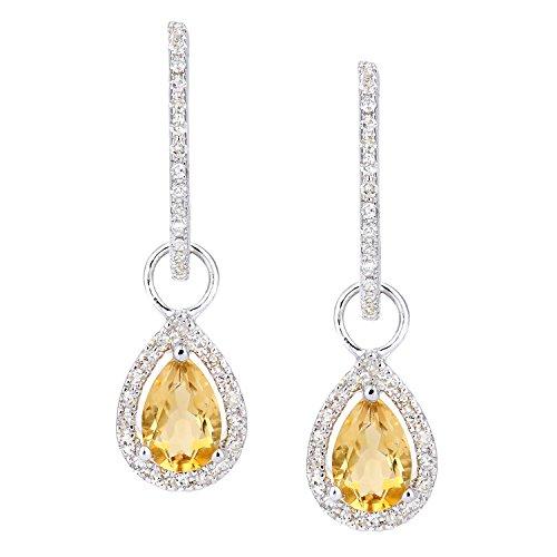 Revoni Bague en or blanc 9carats-Diamant et Citrine goutte Boucles d'oreilles créoles