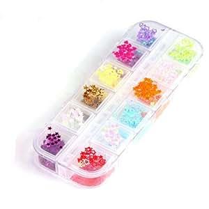 YESURPRISE 3000 Pcs Plastic Nail Art Star Hollow Set Slices 12 Colors