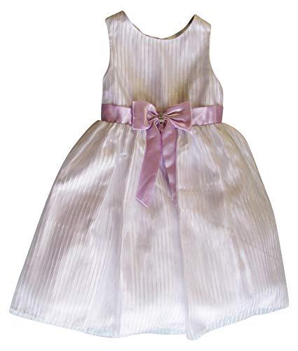 American Princess Girls' Dress White with Lilac Bow and Sash