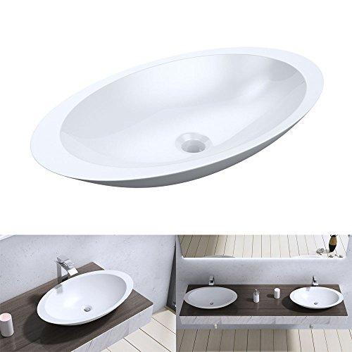 BTH: 59x35x11 cm Design Aufsatzwaschbecken Colossum802, aus Gussmarmor, Waschtisch, Waschplatz, Waschbecken, Handwaschbecken