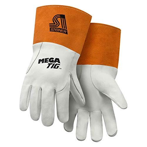 Premier Unlined Gloves - Steiner 0230-L Mega TIG Gloves, Grain Kidskin Foam Back Unlined Palm Cuff, Large