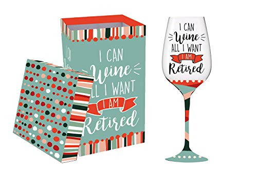 Cypress Home I Can Wine when I'm Retired, Wine Glass with Gift Box, 12 oinces -