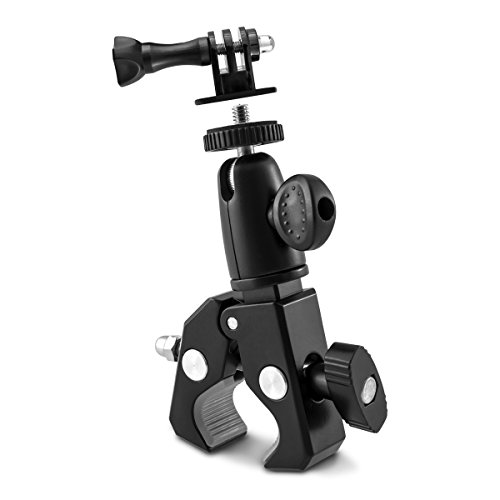 kwmobile camera holder stand for bicycle and motorbike handlebar in black - camera holder bike - e.g. compatible with Nikon, Canon, Olympus, Fujifilm, Kodak, Samsung, Sony, Leica, Panasonic (Fixie Rollers)