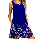 Midi Plain Dress, Womens Summer Solid Short Sleeve Dress O Neck Casual Lace Loose Party Dress (M, Blue 2)