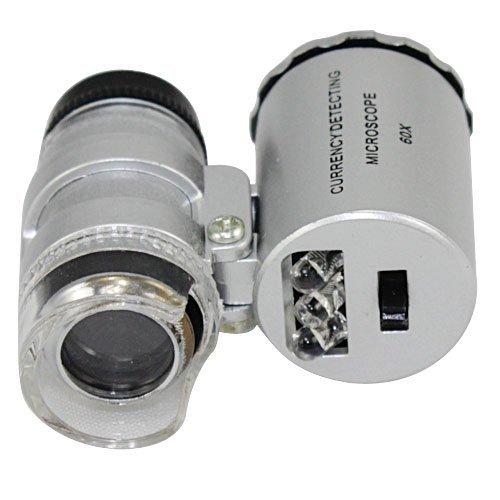 - NYKKOLA New Silver 60X Loupe Portable Mini Pocket LED UV Light Microscope Magnifier