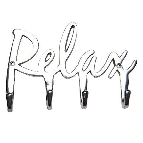 Relax Aluminium Towel Rack - Wall Mounted Bathroom Towel Hooks - Towel Holder 4 Hook - Aluminum Modern Towel Hanger - Spa Themed Bathroom Accessories - Decorative Bathroom Hardware - Bath Décor ()