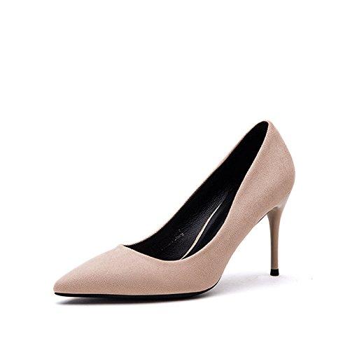 FLYRCX solo suede de Zapato zapatos Zapato talón superficialmente Pequeño b tacón solo de cuero qSqZ4