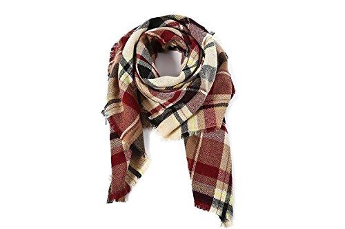 Women's Fall Winter Scarf Classic Tassel Plaid Scarf Warm Soft Chunky Large Blanket Wrap Shawl Scarves by Urban Virgin (Image #2)