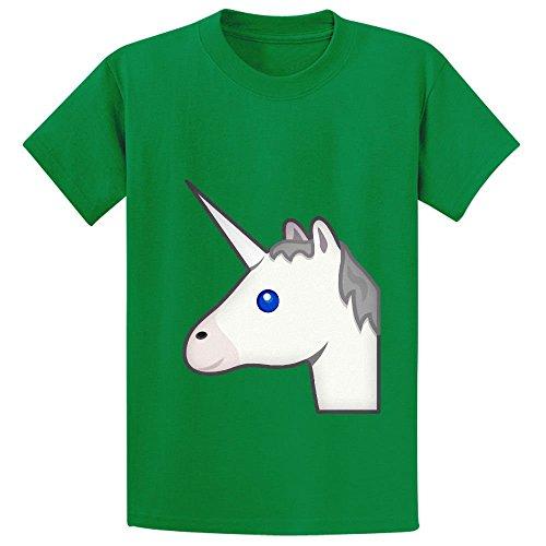 unicorn-emoji-unisex-crew-neck-cotton-t-shirts-green