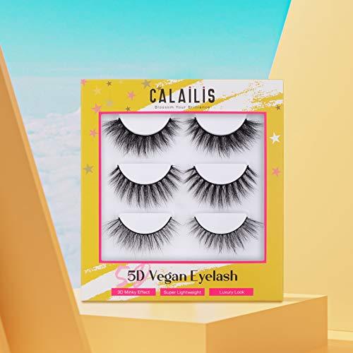 CALAILIS 3D Mink Eyelash, Vegan False Eyelashes, 5D Fake Eyelashes, Fluffy Volume Dramatic Handmade 3D Layered Effect Reusable Eyelashes 3 styles CFD301 7