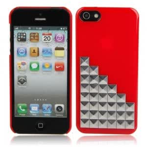Silver Stairs Pattern Plastic Case for iPhone 5/5S Red