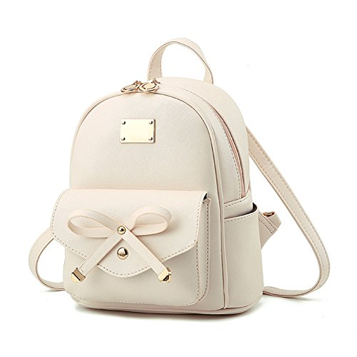 Majome Women Lady Backpack Shoulder Bag Zipper PU Portable Durable Fashion Bow Tie Handbag White