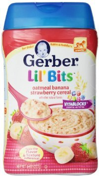 Gerber Lil' Bits Baby Cereal 3 Flavor Variety Bundle: (1) Lil' Bits Oatmeal Banana Strawberry, (1) Lil' Bits Whole Wheat Cereal Apple Blueberry, (1) Lil' Bits Oatmeal Apple Cinnamon Cereal, 8 Oz. Each (3 Cereal Boxes) by Gerber (Image #3)