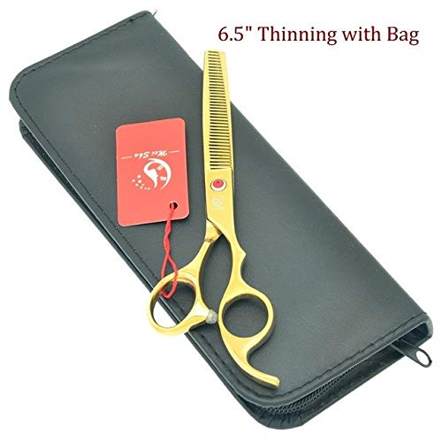 Shoppy Star  7.0Inch Meisha JP440C Pet Cutting Scissors golden Dog Thinning Trimming Shears Curved Dog Grooming Scissors with Comb Bag HB0092  HB0095 with Bag