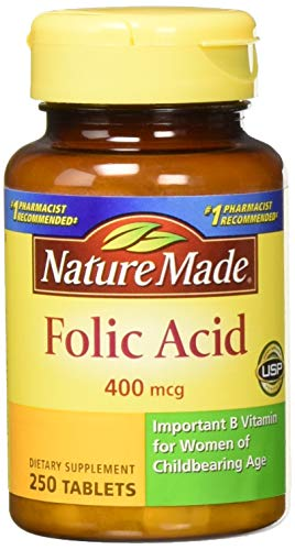 Nature Made Folic Acid (400 mcg) Tablets, 250 Count, Pack of 2
