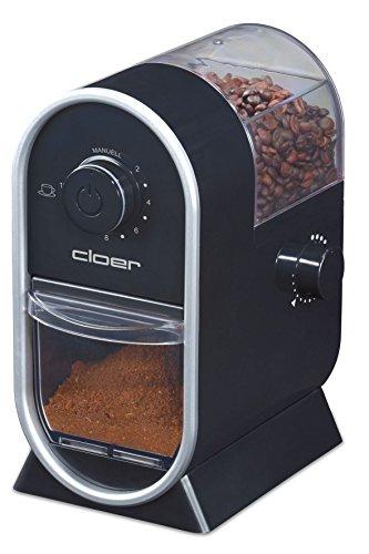 Cloer 7560 Elektrische Kaffeemühle mit Scheibenmahlwerk / 100 W / für 150 g Kaffeebohnen / für 2-12 Tassen / verstellbarer Mahlgrad / schwarz