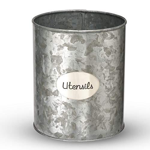 Utensil Holder for Countertop or Kitchen Utensil Crocks, Modern Utensil Caddy for Farmhouse, Large Rustic Galvanized…