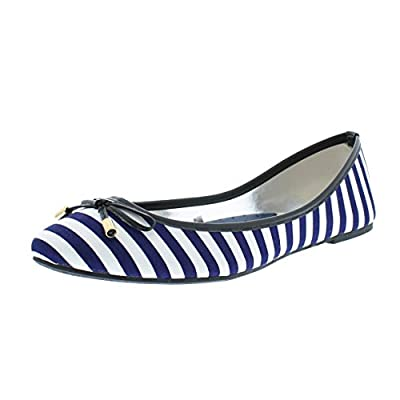 Gold Toe Women's Boat Nautical Stripe Round Toe Ballet Flats Dress Pump Slip On Shoes With Arch Support
