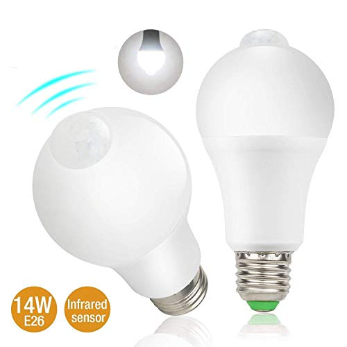 Motion Sensor Light Bulbs,14W Dusk to Dawn PIR Detector Sensor Smart Bulbs E26 Base Indoor Outdoor LED Light Bulbs, 5700K Daylight White,1200 Lumens Security Night Lights,2 Pack
