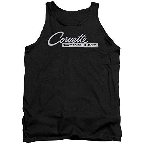 - Corvette Central Chevy Men's Chrome Stingray Logo Mens Tank Large Black