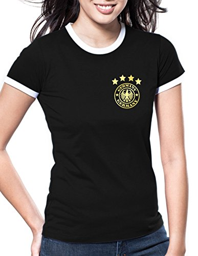 Luckja EM 2016 Trikot Deutschland Fanshirt Retro-Look Motiv 14 Damen Rundhals T-Shirt