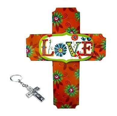 Best Fun Colorful Contemporary Hanging Love Cross & Bling Keychain Set Popular New Religious Christian Women Grandma Teen Girl Her Unique Cool Birthday Easter Basket Filler Gift Idea (Style 1)