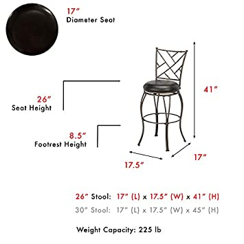 Leggett Platt Honolulu Swivel Seat Counter Stool with Coffee Finished Metal Frame, Sculpted Legs and Black Faux Leather Upholstery, 26-Inch Seat Height