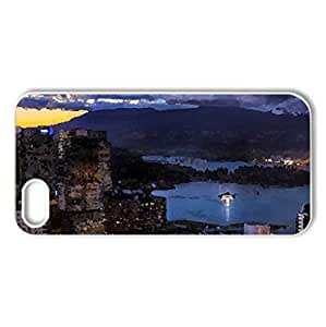 amazing city harbor at sunset - Case Cover for iPhone 5 and 5S (Watercolor style, White)