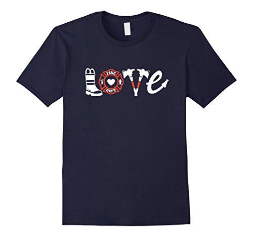 Love Fighters T-shirt (Mens Firefighter Shirt- Love Firefighter Tee, Firefighter Gift 2XL Navy)