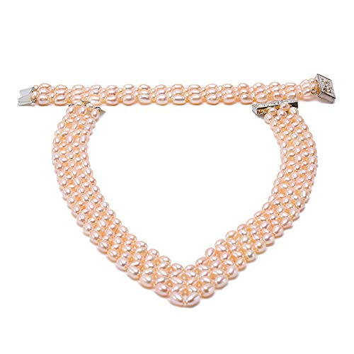JYX Pearl Triple Strand Necklace Set Pink Oval Freshwater Curtured Pearl Necklace Bracelet Set 17