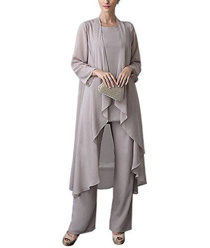 e4a9753d6316 Newdeve Chiffon Mother Of The Bride Pant Suits For Women 3 Pieces Set Plus  Size