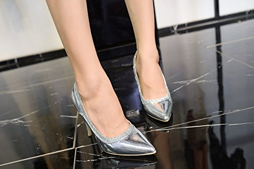 Celeste Platform Sparkles Lady Toe Heeled Mila Point Embellished Silver Shoes Lady xI5t7wwqS