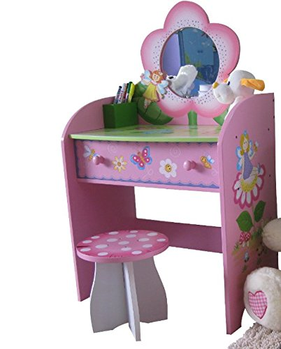 Liberty House Toys Charming Pink Children's Dressing Table - Fairy And Flowers Painted Design - Hand Painted Details - Perfect Daughter's Bedroom Unit
