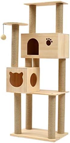 猫の木とタワー、木製の猫登山フレーム、大きな猫の棚、おもちゃの吊りボール、豪華なアパートと猫のジャンプ台、猫の活動センター、猫のおもちゃ (Color : Wood grain)