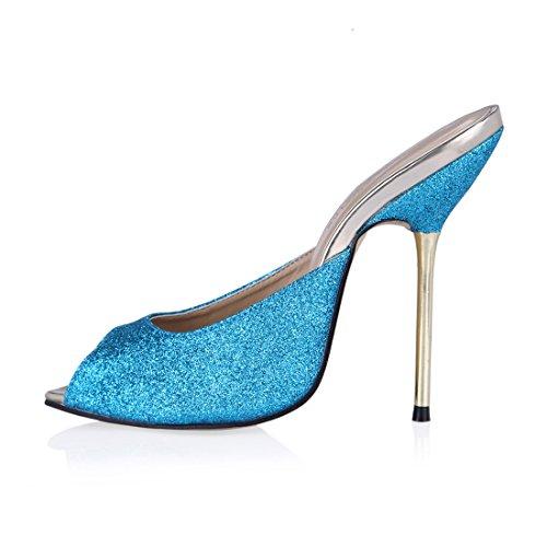 tacco A Spillo Da Tacco Toe scarpe b Chau Alto partito moda sexy Metallo peep Chmile sandali Donna Blu Hfq00z