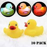 CTlite Light Up Bath Toy, LED Lighting Rubber Watertight Ducks Floating Flashing LED Bathtub Toy Babies Kids (Pack of 10)