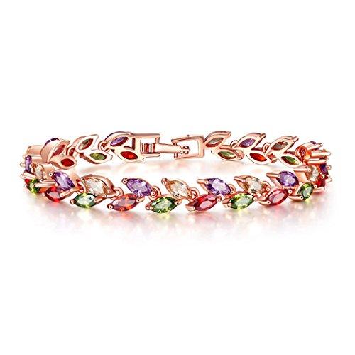 Lujuny Cubic Zircon Leaf Tennis Bracelet - Rose Gold Plated Classic Bangle (Rainbow Bracelet 7.5) by Lujuny (Image #3)