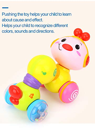 Toyshine Press and Crawl Cute Creeping Worm Baby Toys 6 to 12 Months Toddler Activity Toys with Music and Lights