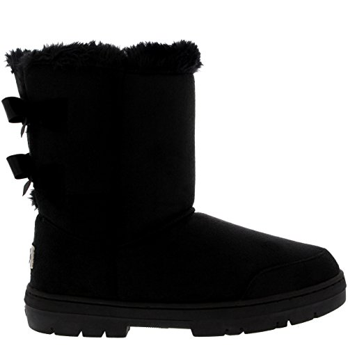 Mujer Twin Bow Tall Classic Fur Impermeable Invierno Rain Nieve Botas - Negro - 39